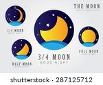 Moon Set Icon With Star Sky An...