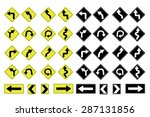 illustrated road signs with...