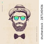 hipster with hat and jazz bow | Shutterstock .eps vector #287140436