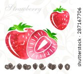 strawberry icons collection... | Shutterstock .eps vector #287167706