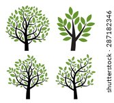 Set Of Black Vector Tree With...