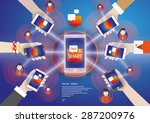 social media network people... | Shutterstock .eps vector #287200976