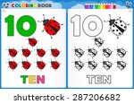 coloring page number ten with... | Shutterstock .eps vector #287206682