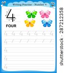 writing practice number four... | Shutterstock .eps vector #287212358