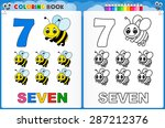 coloring page number seven with ... | Shutterstock .eps vector #287212376