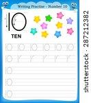 writing practice number ten... | Shutterstock .eps vector #287212382