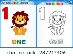 coloring page number one with... | Shutterstock .eps vector #287212406