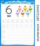 writing practice number six... | Shutterstock .eps vector #287212442