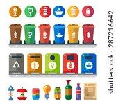trash bins  sorting garbage ... | Shutterstock .eps vector #287216642