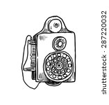 hand drawn vintage telephone | Shutterstock .eps vector #287220032