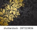 gold vintage floral pattern on...