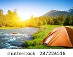 tourist tent camping in... | Shutterstock . vector #287226518
