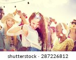 teenagers friends beach party... | Shutterstock . vector #287226812