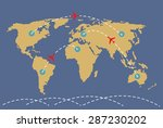 world map with markers. | Shutterstock .eps vector #287230202