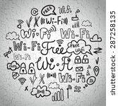 hand drawn wi fi icons set.... | Shutterstock .eps vector #287258135