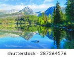 mountain lake strbske pleso in... | Shutterstock . vector #287264576