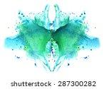 blue watercolor symmetrical... | Shutterstock . vector #287300282