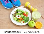 sport and healthy food for diet ... | Shutterstock . vector #287303576
