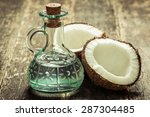 Coconut On Wooden Table.vintage ...