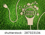 paper cut of eco on green grass | Shutterstock . vector #287323136