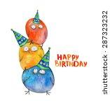 3 birds pyramid in cap. happy... | Shutterstock . vector #287323232