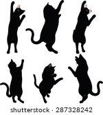 Cat Silhouette In Reach Pose...