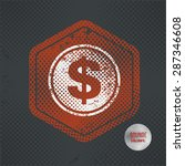 dollar stamp design on old dark ...