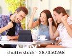 euphoric winner friends using a ... | Shutterstock . vector #287350268