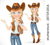 beautiful girl in a cowboy hat...   Shutterstock .eps vector #287351816