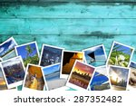 heap of travel photos on azure... | Shutterstock . vector #287352482