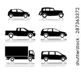 Stock vector black silhouettes of cars with shadow vector shapes design 287363372