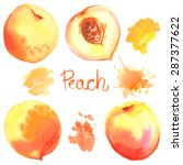 peach painted with watercolors... | Shutterstock .eps vector #287377622