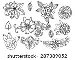 white and black doodle floral...