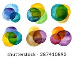 watercolor hand painted circles ... | Shutterstock . vector #287410892