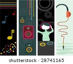 Music Vertical Banner - Vector - stock vector