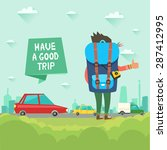 hitchhiking tourism concept.... | Shutterstock .eps vector #287412995