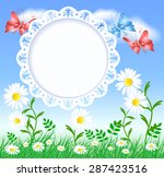 spring meadow with butterflies  ... | Shutterstock . vector #287423516