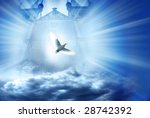 gate with beams of light coming through it and white dove, conceptual illustration for divine spirit - stock photo