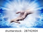 father and child in tender gesture over divine rays of light - stock photo