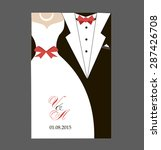 bride and groom wedding... | Shutterstock .eps vector #287426708