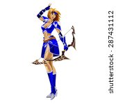 the girl archer in a blue suit... | Shutterstock .eps vector #287431112