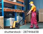 male worker in warehouse...   Shutterstock . vector #287446658