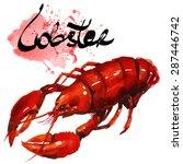 watercolor lobster.  simple...   Shutterstock .eps vector #287446742