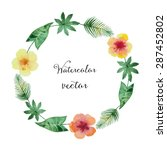 watercolor round frame of green ... | Shutterstock .eps vector #287452802
