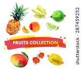 vector set of watercolor fruits ...   Shutterstock .eps vector #287459252