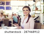 attractive young woman with... | Shutterstock . vector #287468912