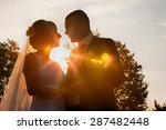 bride and groom silhouettes in...   Shutterstock . vector #287482448