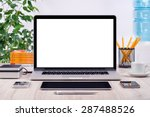 workplace with open laptop... | Shutterstock . vector #287488526