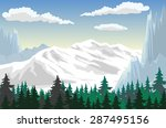 illustration of a forest at the ... | Shutterstock .eps vector #287495156