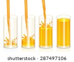 orange juice in glass 4 stages  ... | Shutterstock .eps vector #287497106